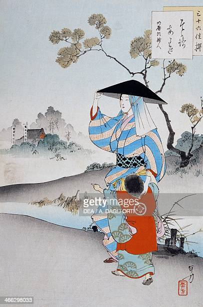 Woman with child ukiyoe art print by Ogata Gekko from Woman's customs and manners Obantatee woodcut Japanese civilisation Meiji period 18681912