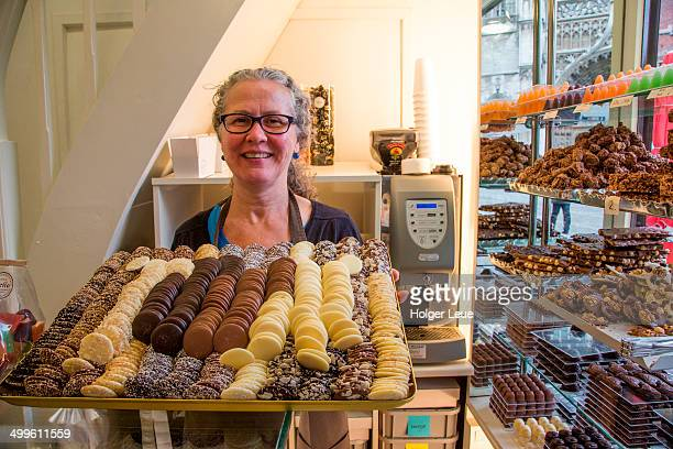 Woman with chocolates at Nello Chocolaterie