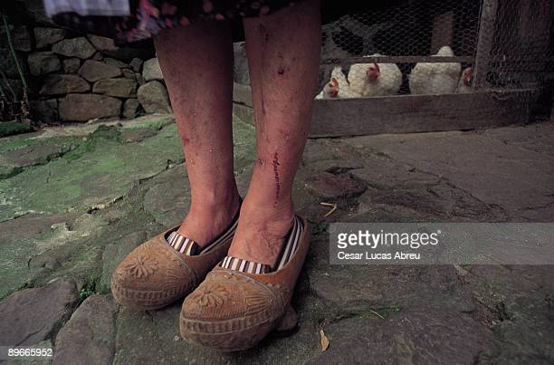 Woman with clogs Liebana Cantabria Peasant with the traditional wooden clogs