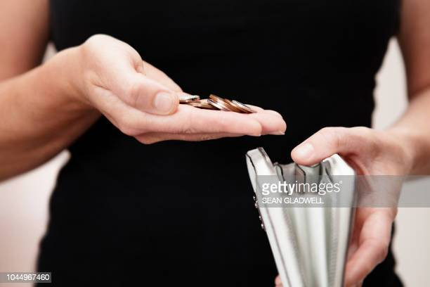 Woman with coins in hand with purse