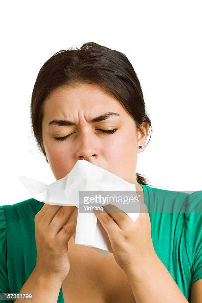 Woman with Cold, Flu or Allergy, Coughing, Sneezing, Using Tissue