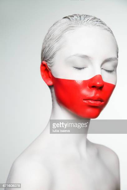 Woman with colorful face