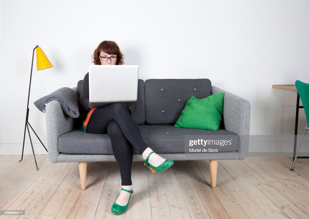woman with computer, home : Stock Photo