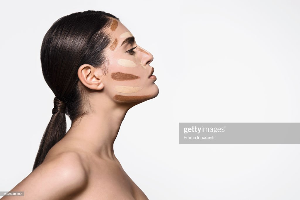 Woman with countering make-up : Stock Photo