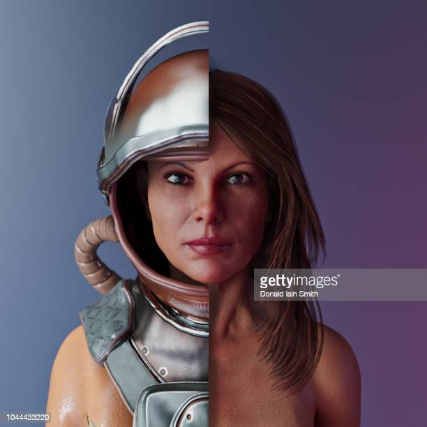 woman with cut away space suit - halved stock pictures, royalty-free photos & images