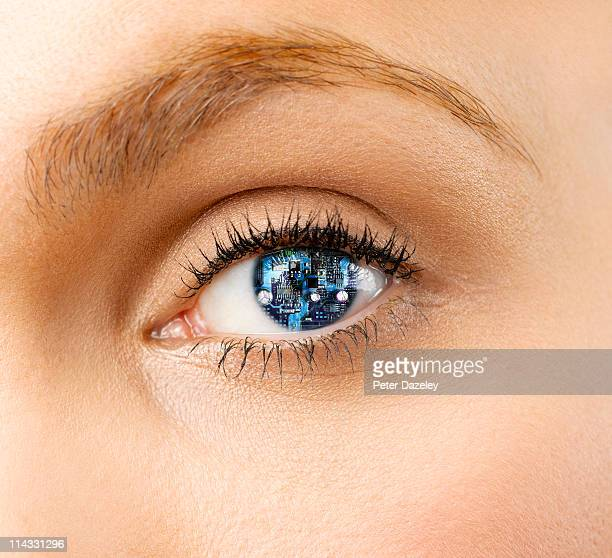 Woman with cyborg eye