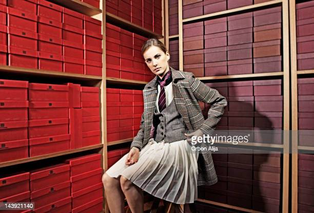 woman with dandy style in a shoe store - tweed stock pictures, royalty-free photos & images