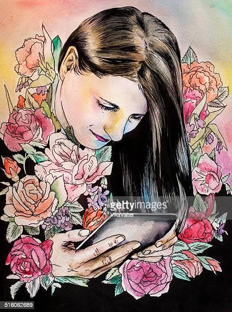 デジタルタブレットの女性