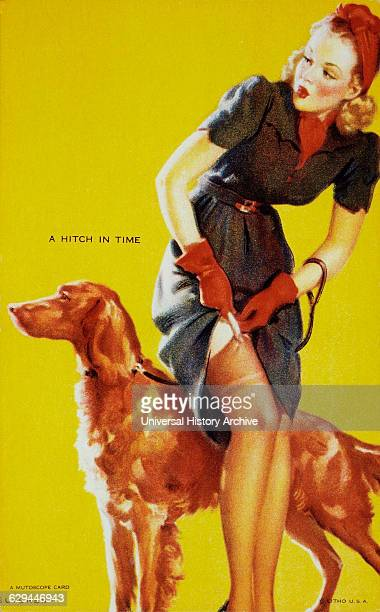 Woman With Dog Attaching Stocking to Garter Belt A Hitch in Time Mutoscope Card 1940's