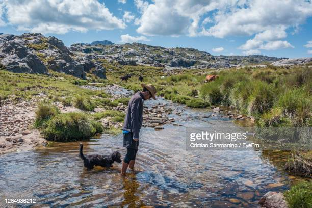 woman with dog in water against sky - cordoba argentina stock pictures, royalty-free photos & images