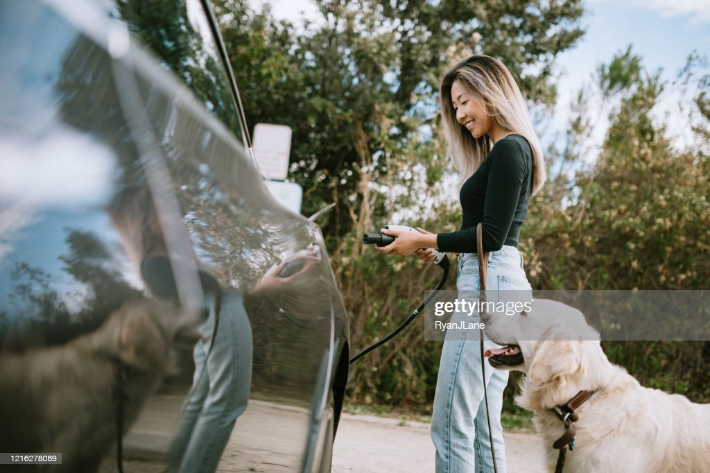Woman With Dog Plugs In Electric Vehicle to Charge : Stock Photo