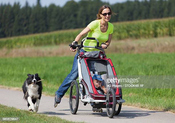 Woman with dog, pushchair and inlineskates