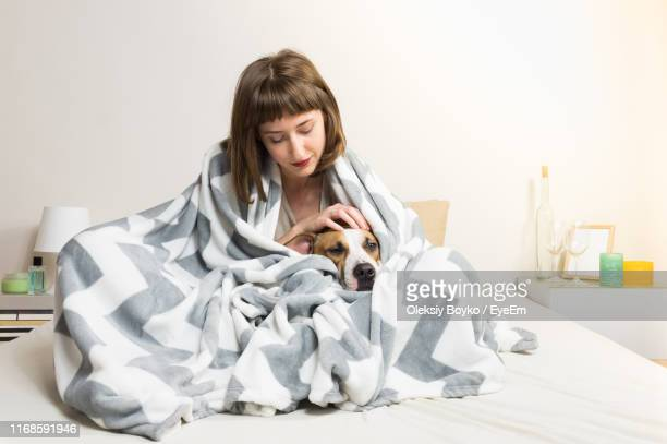 woman with dog wrapped in blanket sitting on bed at home - avvolto in una coperta foto e immagini stock