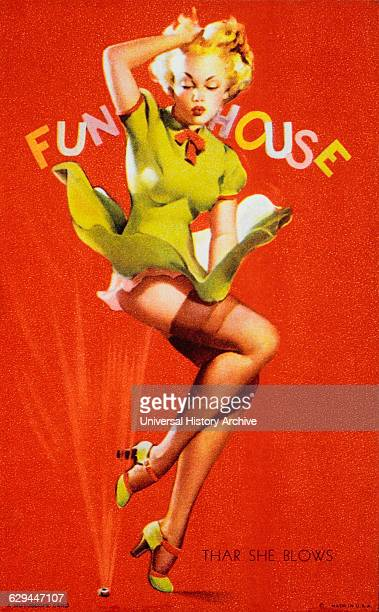 Woman With Dress Blowing Up in Air at Fun House Thar She Blows Mutoscope Card 1940's