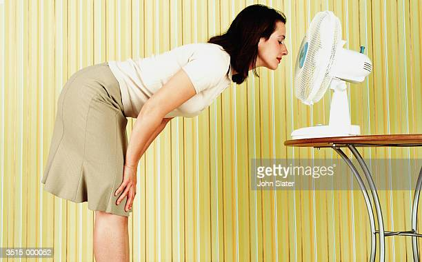 woman with electric fan - skirt blowing stock photos and pictures
