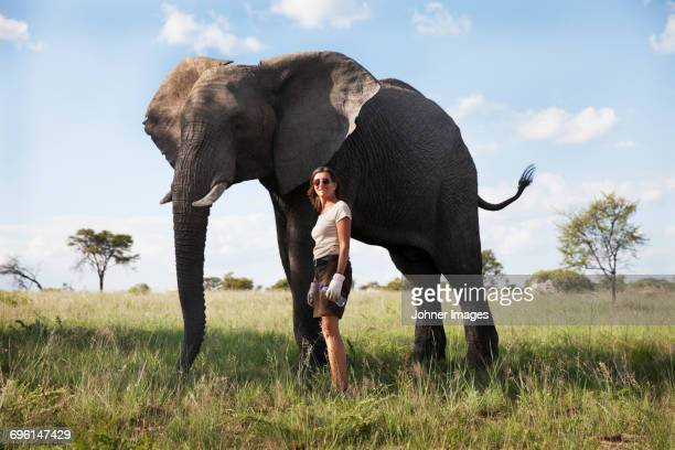 Woman with elephant in safari camp