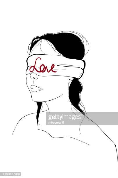 woman with eyes blindfolded, concept - heart internal organ stock pictures, royalty-free photos & images