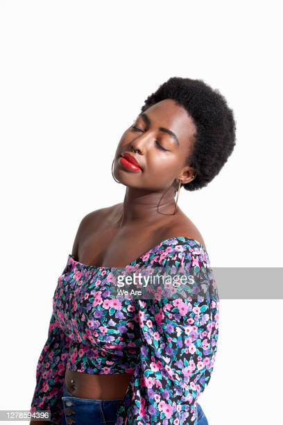 woman with eyes closed in contemplation - millennial generation stock pictures, royalty-free photos & images