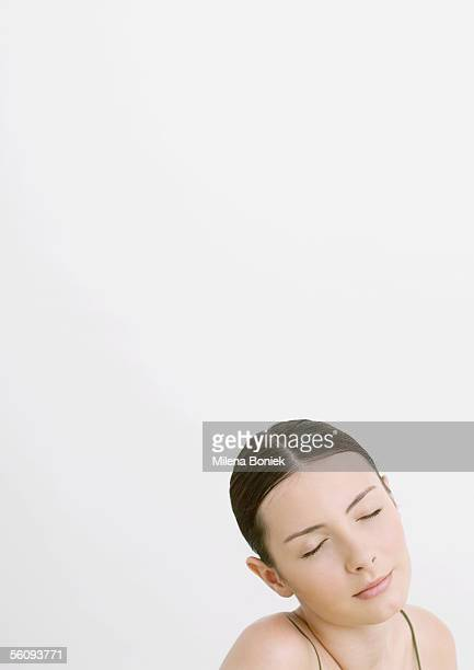woman with eyes closed - hair part stock pictures, royalty-free photos & images