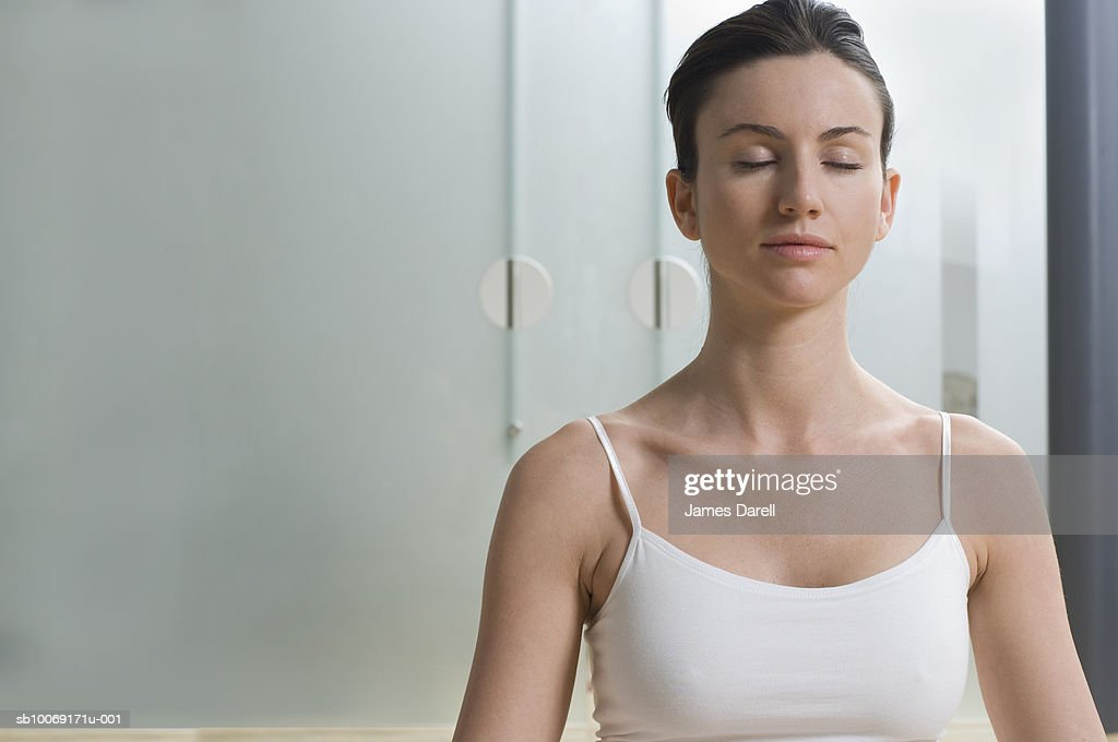 Woman with eyes closed : Stockfoto