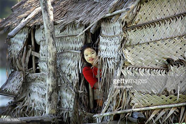 woman with face pack in bajau floating village - bajau stock pictures, royalty-free photos & images