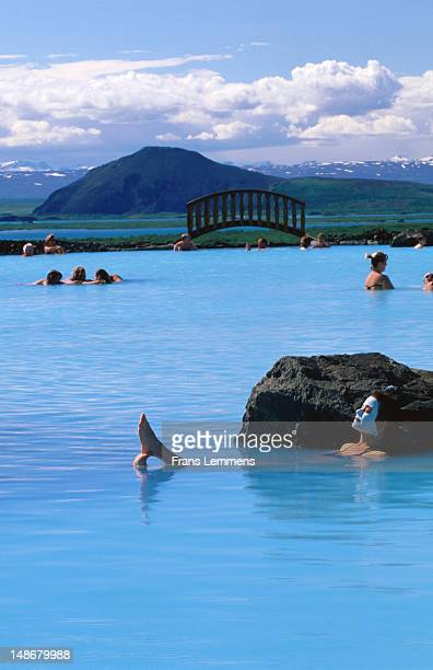 Woman with face pack, Myvatn Nature Baths.