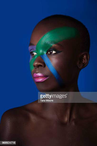 woman with face painted - body paint stock pictures, royalty-free photos & images