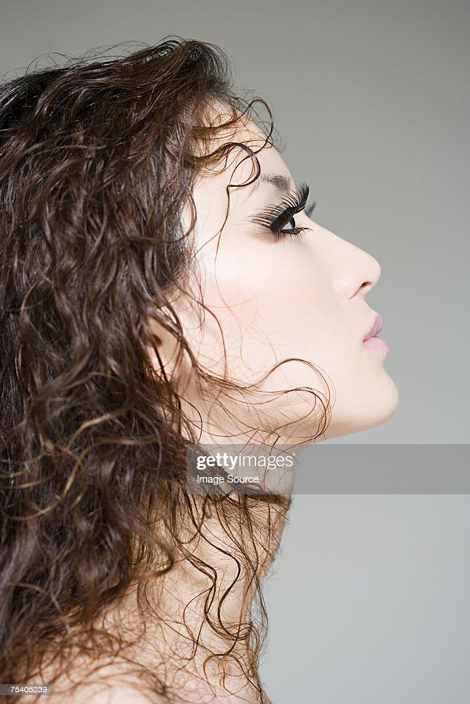 Woman with fake eyelashes : Stock Photo