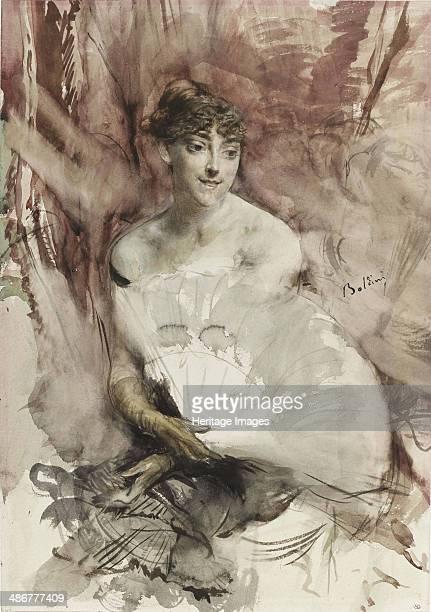 Woman with fan seated in a theatre box ca 1878 Artist Boldini Giovanni