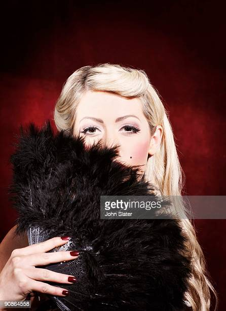 woman with feather fan - burlesque stock pictures, royalty-free photos & images