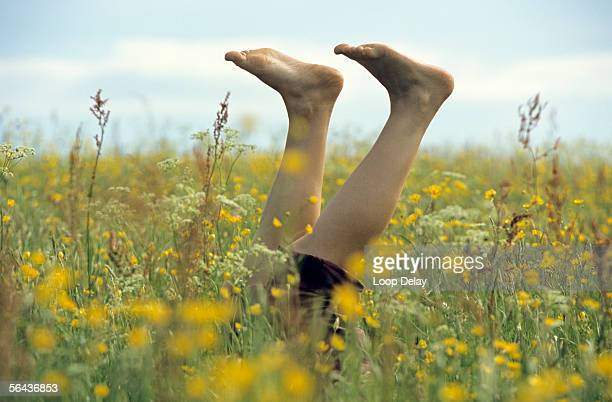 Woman with feet up in meadow, low section