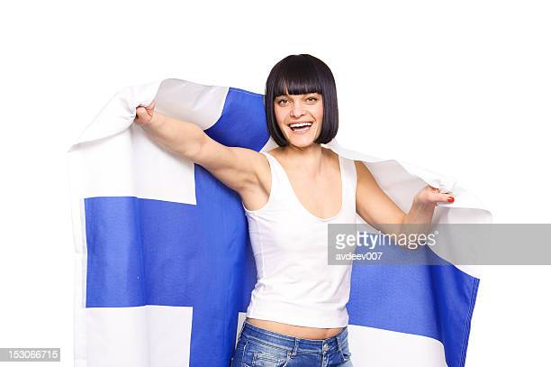 Woman with Finnish flag
