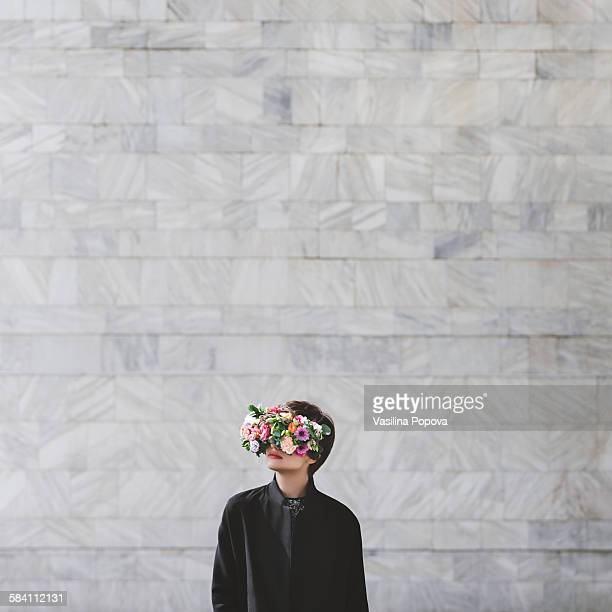 Woman with floral glasses