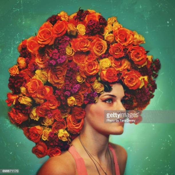 Woman with floral headpiece