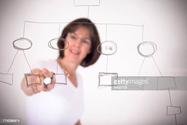 Woman with flow chart on dry erase board