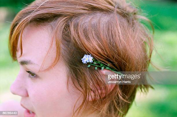 Woman with flower in hair