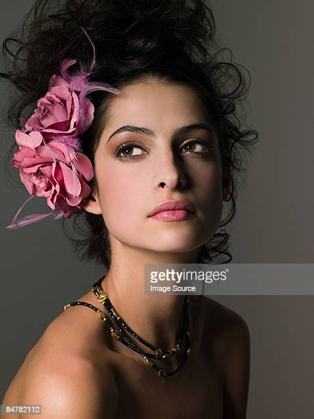 Woman with flower in her hair