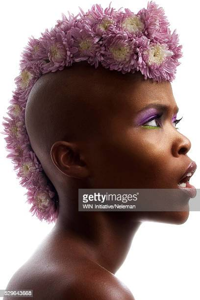 woman with flowers for mohawk - mohawk stock pictures, royalty-free photos & images