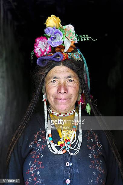 Woman with flowers in her hair.