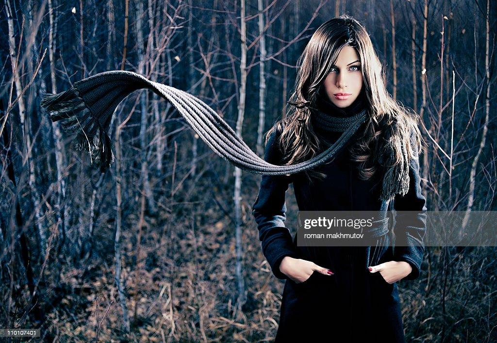 Woman with flying scarf : Bildbanksbilder