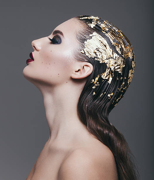Woman with foil hairstyle