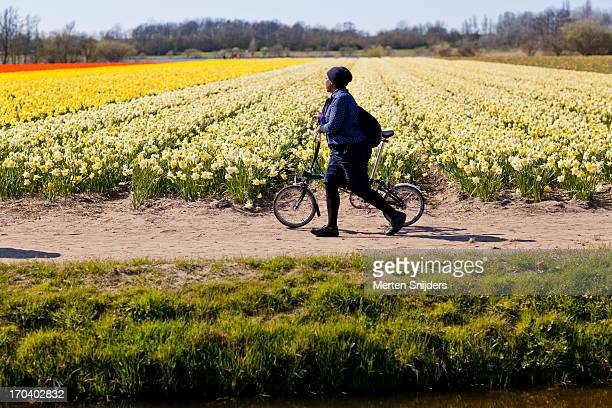 Woman with foldable bike at flowerfield
