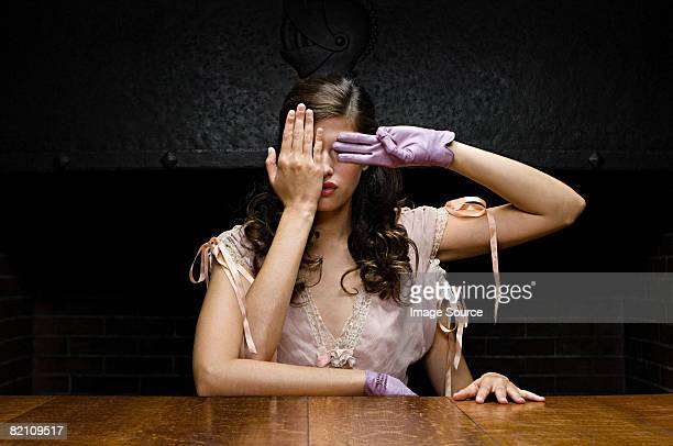 a woman with four arms covering her eyes - see no evil hear no evil speak no evil stock pictures, royalty-free photos & images