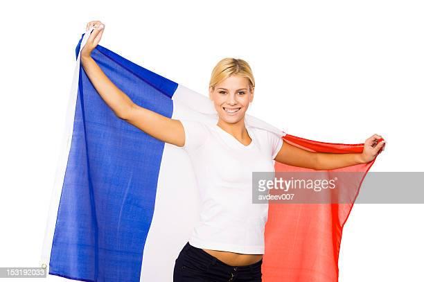 Femme avec le drapeau de la France