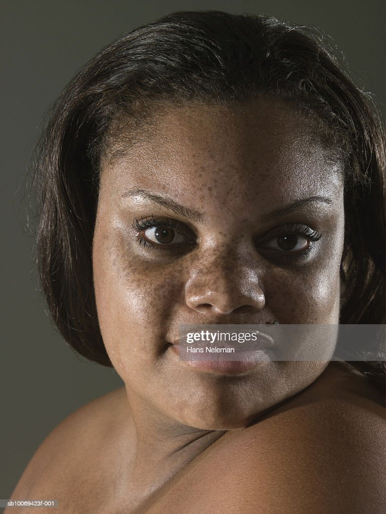 Woman with freckles, portrait, close-up : Stock Photo