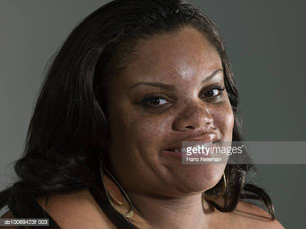 woman with freckles, portrait, close-up - images of fat black women stock photos and pictures