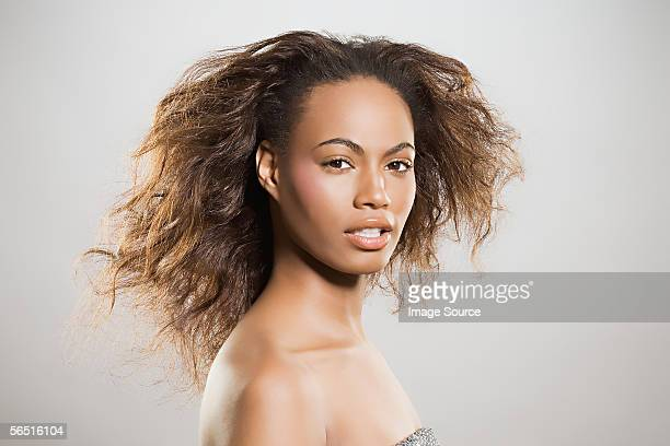 woman with frizzy hair - frizzy stock pictures, royalty-free photos & images