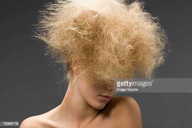 Woman with frizzy hairstyle