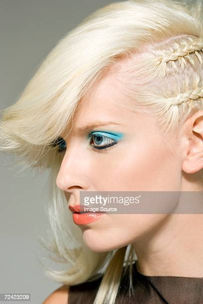 Woman with funky hairstyle