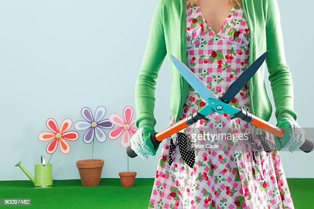 woman with gardening shears